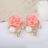 Boucles d'oreilles (clous) Roses, perles et strass