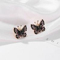 Boucles d'oreilles (clous) Papillons en strass