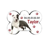 Médaille pour chien Américan staff  personnalisée avec nom, numéro de téléphone