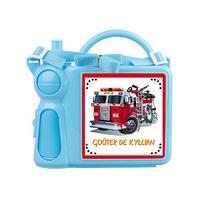 Boite à goûter + gourde Camion de pompier personnnalisée avec prénom