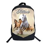 Cartable Sac à dos Cheval chevaux personnalisé avec prénom