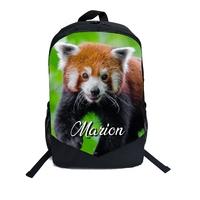 Cartable Sac à dos Panda roux personnalisé avec prénom