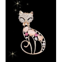 Broche Chat Coloris or avec strass