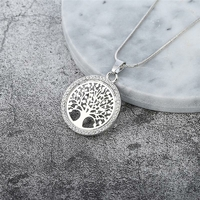 Collier pendentif Arbre de vie serti de strass avec chaîne fine argentée TOP QUALITE