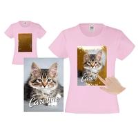 Tee shirt fille magique sequins Chat chaton personnalisé avec prénom