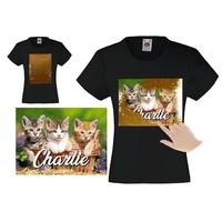 Tee shirt fille magique sequins chatons personnalisé avec prénom