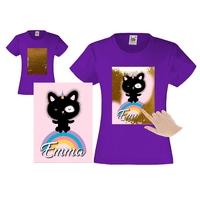 Tee shirt fille magique sequins chaton licorne personnalisé avec prénom