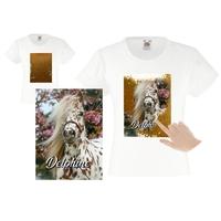 Tee shirt fille magique sequins Cheval personnalisé avec prénom