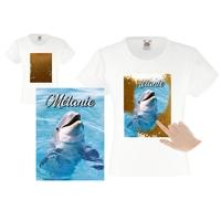 Tee shirt fille magique sequins Dauphin personnalisé avec prénom