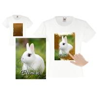 Tee shirt fille magique sequins lapin personnalisé avec prénom