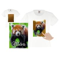 Tee shirt fille magique sequins Panda roux personnalisé avec prénom