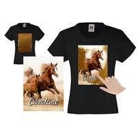 Tee shirt fille magique sequins Cheval chevaux personnalisé avec prénom