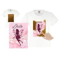 Tee shirt fille magique sequins Fée personnalisé avec prénom