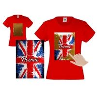 Tee shirt fille magique sequins Anglais personnalisé avec prénom