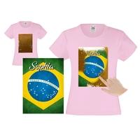 Tee shirt fille magique sequins Brésil personnalisé avec prénom