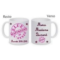 Mug tasse céramique Elue Maîtresse personnalisé avec nom de l'institutrice