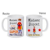 Mug tasse céramique Super Maîtresse personnalisé avec nom de l'institutrice
