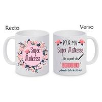 Mug tasse céramique Super Maîtresse personnalisé avec prénom de l'élève