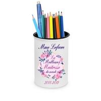 Pot à crayons Meilleure maîtresse personnalisé avec nom de l'instit