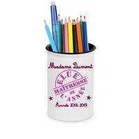 Pot à crayons Elue maîtresse personnalisé avec nom de l'instit