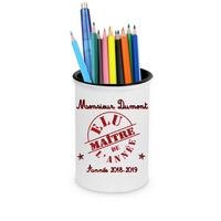Pot à crayons Elu maître personnalisé avec nom de l'instit