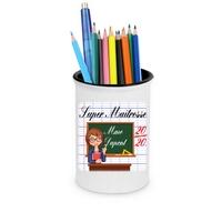 Pot à crayons Super maîtresse personnalisé avec nom de l'instit