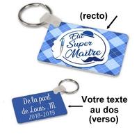 Porte-clés rectangle Elu super maitre personnalisé avec message au dos