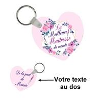 Porte-clés coeur Meilleure maîtresse personnalisé avec message