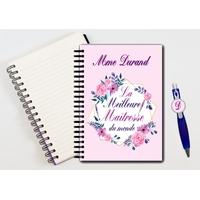 Cahier à spirales et stylo Meilleure maîtresse personnalisé avec nom de l'instit