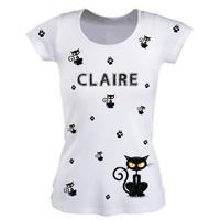 Tee shirt femme Chat Cat personnalisé avec prénom