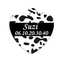 Médaille coeur pour chien Dalmatien personnalisée avec nom, numéro de téléphone