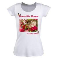 Maman fête des mères Tee shirt femme personnalisé avec votre photo et texte