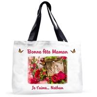 Maman Fête des mères Grand sac cabas personnalisé avec votre photo