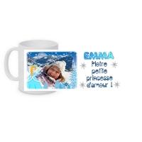 Princesse des neiges....Mug céramique personnalisé montage photo, prénom, texte....