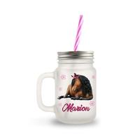 Mason Jar en verre Cheval personnalisé avec prénom
