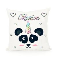 Coussin Panda Licorne personnalisé avec prénom au choix