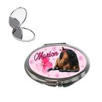 Miroir de poche Cheval personnalisé avec prénom