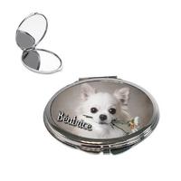 Miroir de poche Chihuahua personnalisé avec prénom