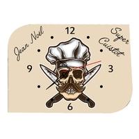 Pendule murale Cuisinier Super cuistot personnalisée avec prénom au choix