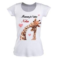 Tee shirt femme Maman je t'aime personnalisé avec prénom