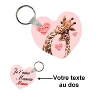 Porte-clés coeur Maman je t'aime personnalisé avec votre texte au dos