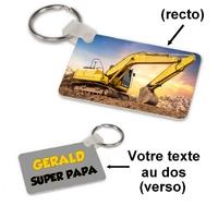 Porte-clés rectangle Tracteur pelleteuse personnalisé avec prénom et message au dos