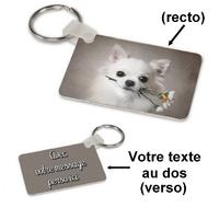Porte-clés rectangle Chien chihuahua personnalisé avec message au dos