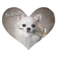Puzzle coeur Chien chihuahua personnalisé avec prénom