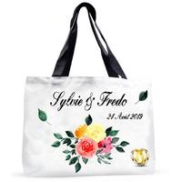 Grand sac cabas Mariage personnalisé avec prénoms et date