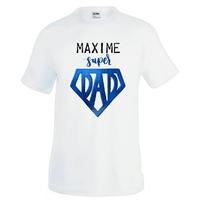 Tee shirt homme papa SUPER DAD personnalisé avec prénom