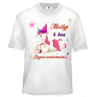 Tee shirt enfant Anniversaire licorne personnalisé avec prénom et âge