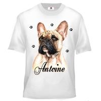 Tee shirt enfant Bouledogue français personnalisé avec prénom