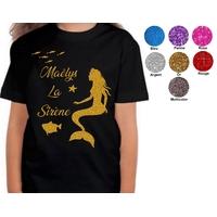 Tee shirt enfant paillettes Sirène personnalisé avec prénom