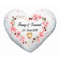 Coussin coeur Mariage personnalisé avec prénoms et date